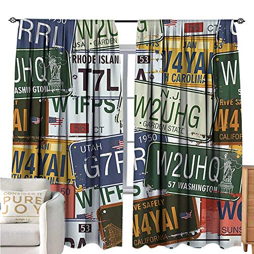 bybyhome VintageBlackout Window CurtainOriginal Retro License Plates Personalized Creative Travel Collections ArtDecor Curtains by W96 xL72 Green Blue Yellow