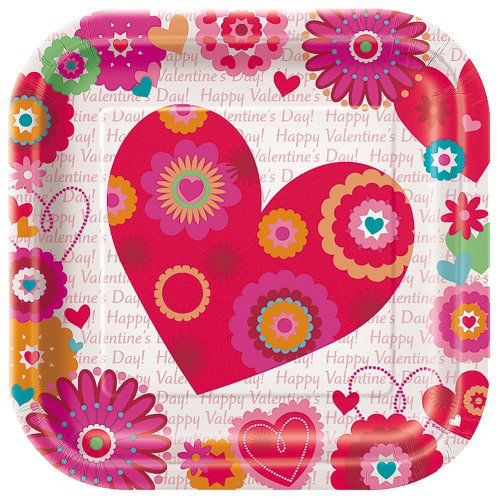 Square Hearts Valentines Dinner Plates product image