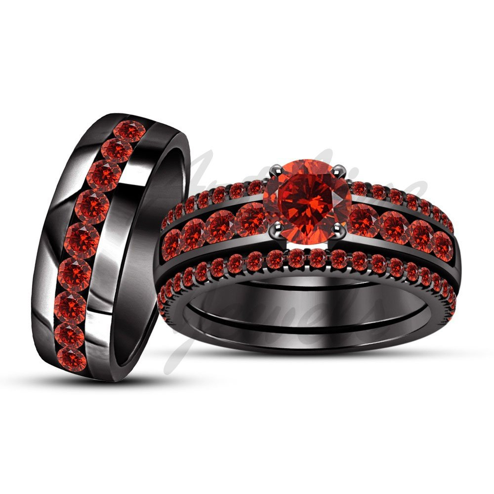 ArtLine Jewels 1.56 Carat Garnet Trio Set Engagement Ring Wedding Band 14K Black Gold His & Hers