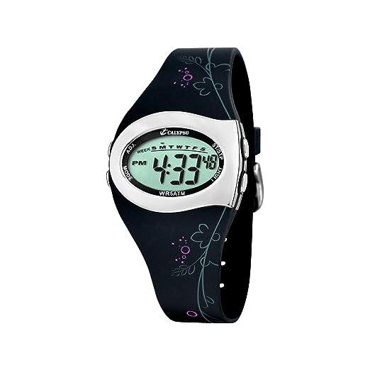 Calypso K5522/3 - Reloj digital de mujer de cuarzo con correa de goma negra (luz, cronómetro, alarma) - sumergible a 50 metros: Amazon.es: Relojes