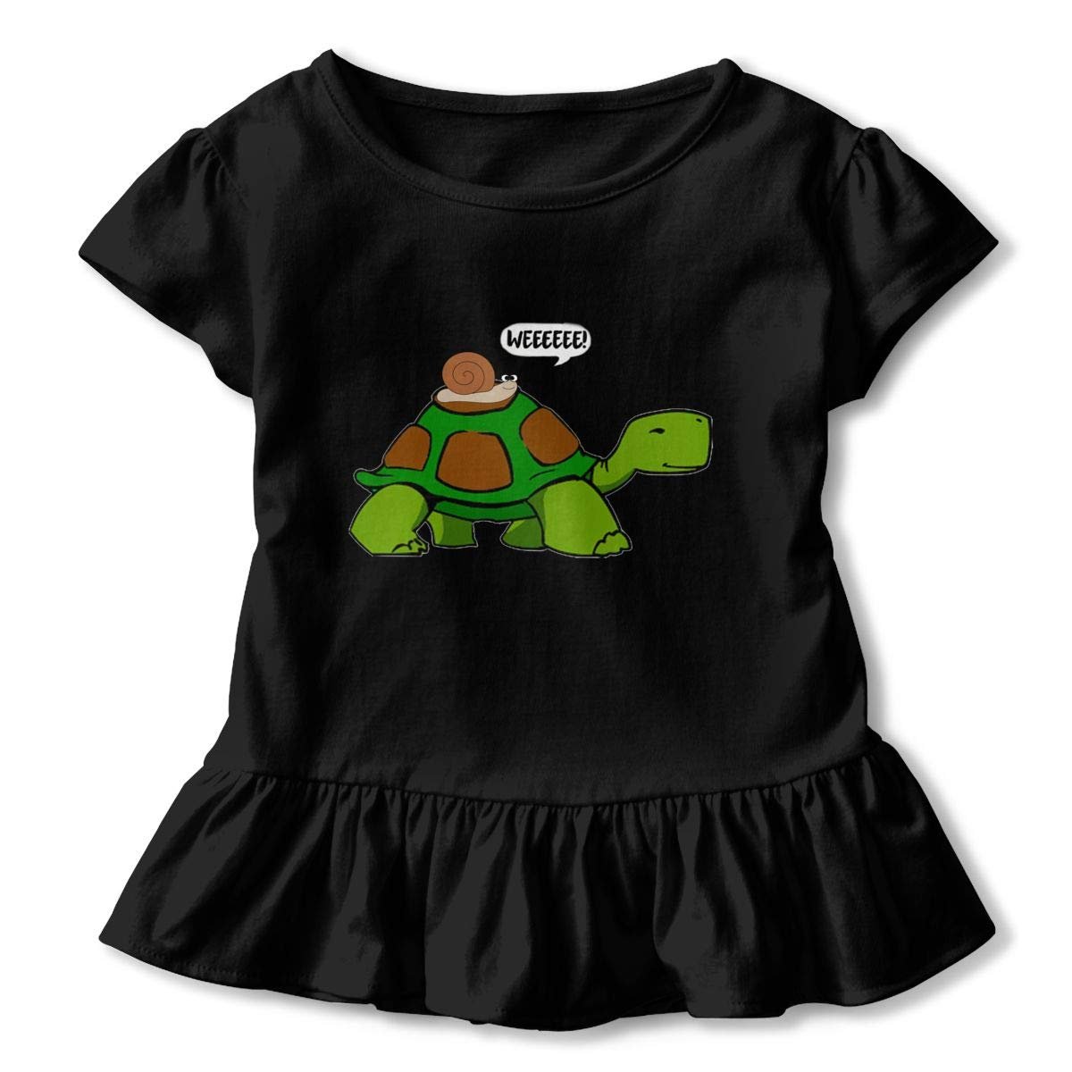 Funny Snail Slow Turtle Ride Weeee Toddler Baby Girls Short Sleeve Ruffle T-Shirt