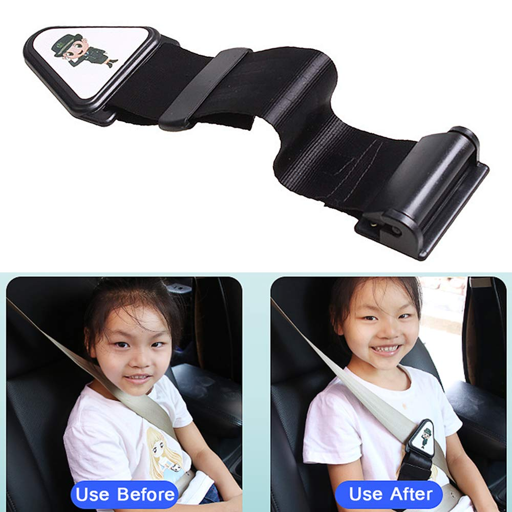 Seat Belt Adjuster for Kids,Comfort Universal Auto Shoulder Neck Strap Positioner, Anti-Strangulation Neck Seat Belt Locking Clips mwellewm