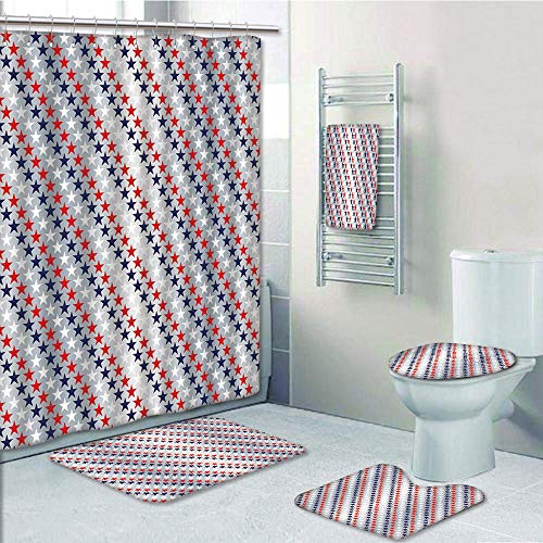 Bathroom 5 Piece Set shower curtain 3d print Multi Style,USA,July Fourth Stars Citizen National Day Patriotic Western Salute to the Union Decorative,Silver Indigo Red,Bath Mat,Bathroom Carpet Rug,Non-