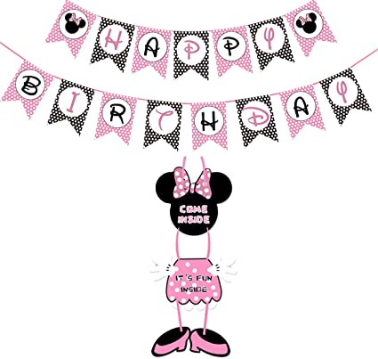 Minnie Mouse Birthday Decorations Party Door SignBanner