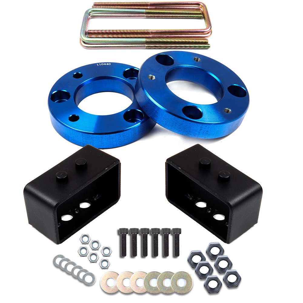 ECCPP Leveling Lift Kit Raise your vehicle 1.5' Front +1.5 inch Rear Blue Leveling Lift Kit 4WD for 2004 2005 2006 2007 2008 2009 2010 2011 2012 2013 2014 2015 2016 2017 FORD F150 110440-5211-0946311211