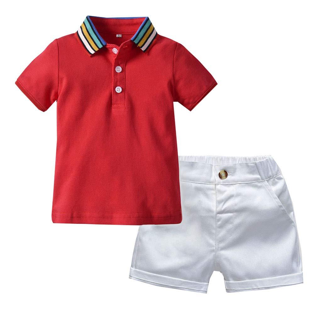 BaZhaHei 2019 Baby Bekleidungssets Kinder Jungen Kleidung Set Sommer Outfits Set Gentleman Suit Kurzarm Regenbogenkragen Einfarbig Shirt Shirt Kurze Hose Bewegung Anzug Gentleman
