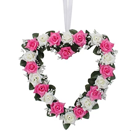 Amazon heart shaped rose wreath hanging wreaths flowers garland heart shaped rose wreath hanging wreaths flowers garland with silk ribbon for home door wall decor mightylinksfo