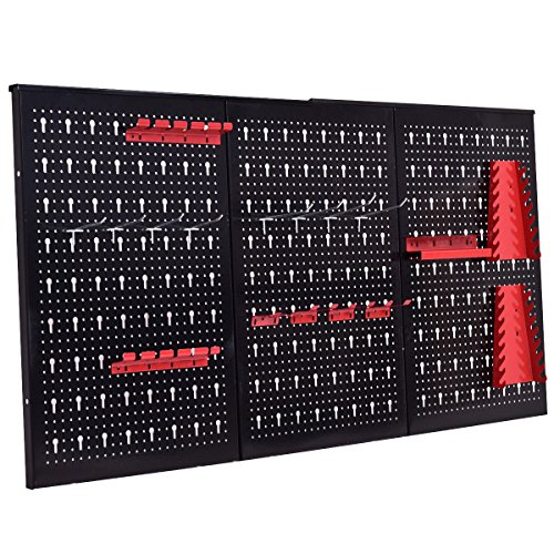 24'' x 48'' Metal Pegboard Panels Garage Tool Board Storage Organizer Holder Black by allgoodsdelight365 (Image #4)