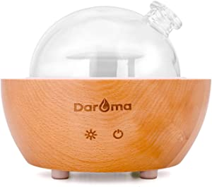 DAROMA Glass Essential Oil Diffuser, 200ml Real Wood Base, The 2020 Upgrade. Ultrasonic Aromatherapy Scent Air Nebulizing Room Humidifier Home Office Gift