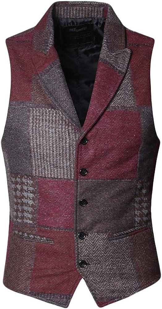 MIXLIMITED Mens Plaid Wool Suit Slim Fit Dress Vest Waistcoat with Lapel