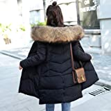 Women'S Winter Jacket Fur Long Cotton Hooded Faux