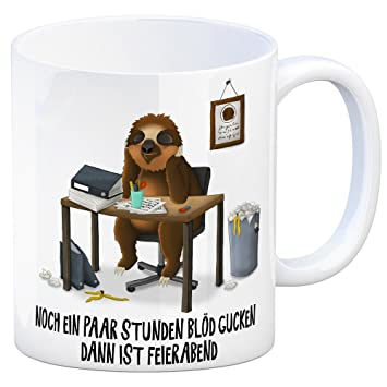 Nur noch ein paar Stunden blöd gucken  dann Kaffeebecher Schnabeltier Büro