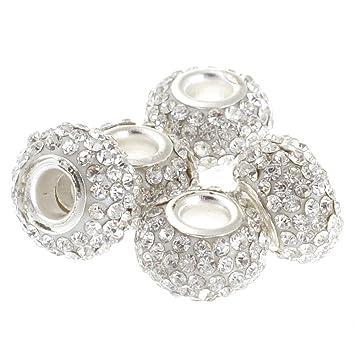 Newest 10pcs Silver DIY Pink Czech big hole Beads Fit European Charm Bracelet