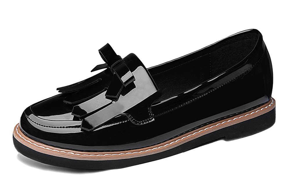 Youxuan Women's Slip On Walk Shoes Ladies Fashion Patent Leather Loafers Flats Black 6M US