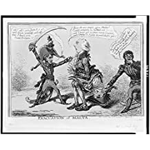 "1803 Photo Evacuation of Malta Addington squats over cocked hat into which he evacuates papers including ""Egypt,"" ""Guadeloupe,"" and last, ""Malta,"" Napoleon holds him by the cravat and threatens him. L"