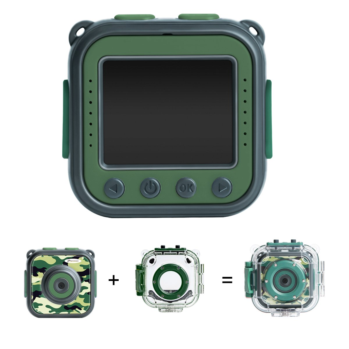 [Upgraded] PROGRACE Kids Camera Waterproof Action Video Digital Camera 1080 HD Camcorder for Boys Toys Gifts Build-in Game(Green)