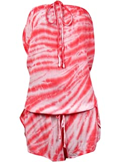 L Lucky Brand Juniors Hazy Days T-Back Romper Cover Up Coral//Coral