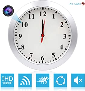 AMCSXH HD 1080P WiFi Spy Camera (5000mAh Battery) Wall Desk Clock Hidden Camera Alarm Clock for Home Security Nanny Cam Support iOS/Android/PC Remote Real-time Video and Motion Detection Alarm