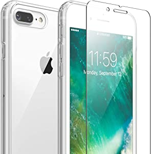 FlexGear iPhone 7 Plus 8 Plus case [Aura 360] Slim Clear Hard PC Back TPU Bumper and Glass Screen Protector, Compatible with iPhone 7 Plus /8 Plus (Clear)