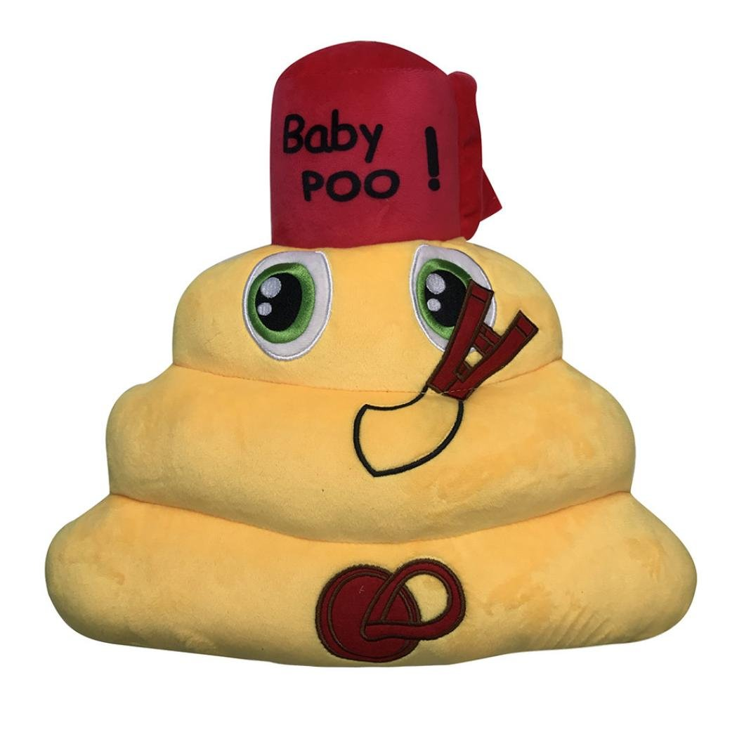 Kolylong Lovely Amusing Emoji Emoticon Eyes Poo Shape Pillow Doll Toy Gift (Yellow)