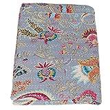 Vintage Kantha India Handmade Blue Tropical Throw Bedspread, Queen