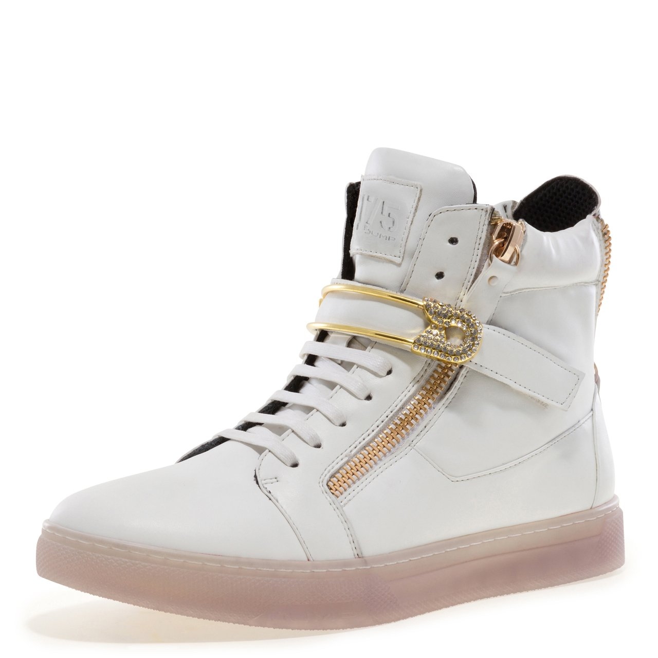 J75 by Jump Men's Zion Round Toe Rhinestone Strap Lace-Up High-Top Sneaker White 9 D US Men