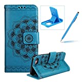 Rope Leather Case for iPhone 7,Strap Wallet Case for iPhone 7,Herzzer Bookstyle Classic Elegant Mandala Flower Pattern Stand Magnetic Smart Leather Case with Soft Inner for iPhone 7 4.7 inch + 1 x Free Blue Cellphone Kickstand + 1 x Free Blue Stylus Pen - Blue