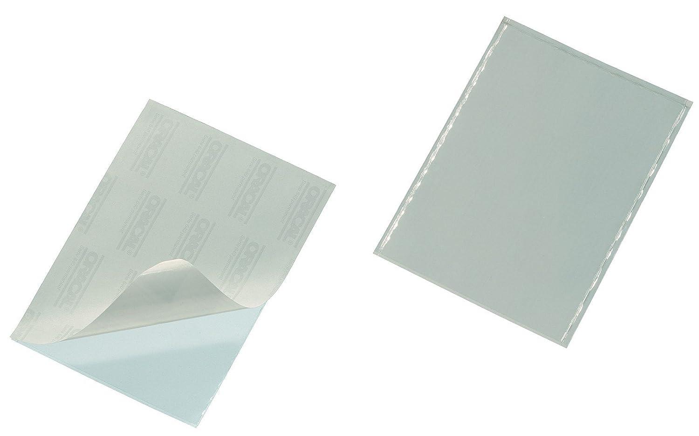 DURABLE 837919 - Pocketfix, tasca adesiva con inserto in cartoncino per cataloghi, portalistini, 94x63 mm, trasparente, confezione da 100 pezzi
