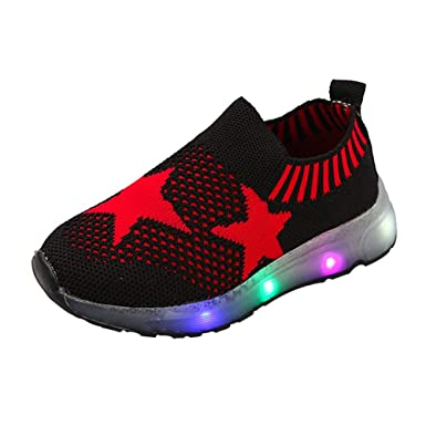 00b4386ec8863 WARMSHOP Kids Light Up Shoes 1-6T Boys Girls Stars Slip-On Luminous Air  Mesh Knitted Casual Sport Student Shoes