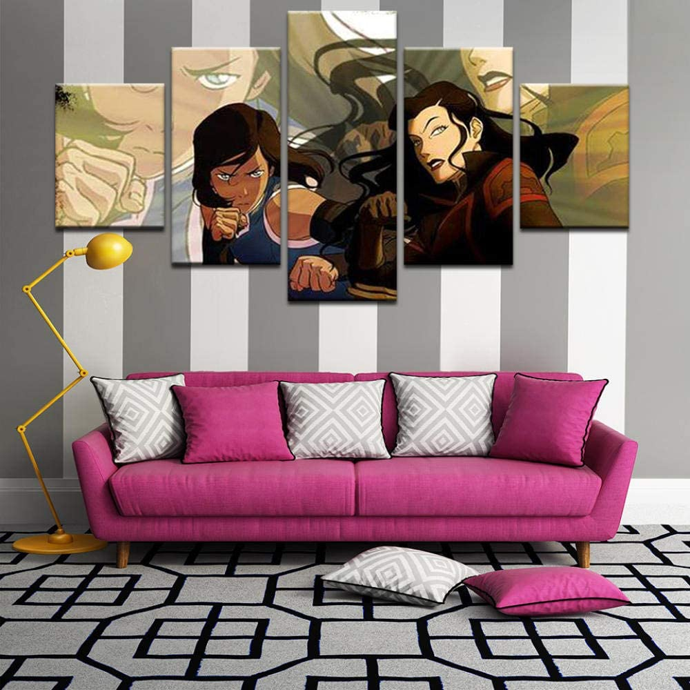 Amazon Com Xiaoagiao 5 Canvas Prints Modern Children Room Wall Decor Cartoon Poster Legend Of Korra Canvas Painting Home Artwork Cuadros Frame Paintings On Canvas Posters Prints