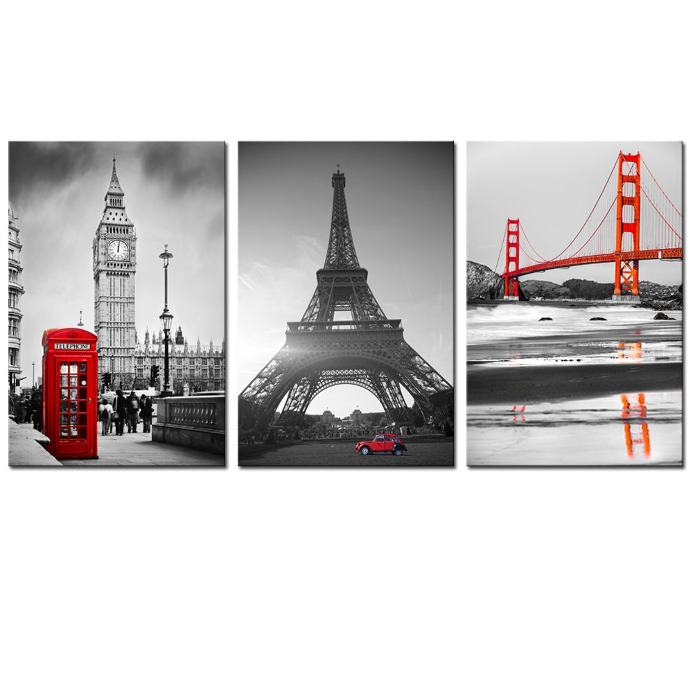 Live Art Decor - Large Size Canvas Print,Red and Black Golden Gate Bridge,Eiffel Tower and Big Ben Picture Wall Art Ready to Hang,3 Pieces Canvas Art Modern Office Home Decor