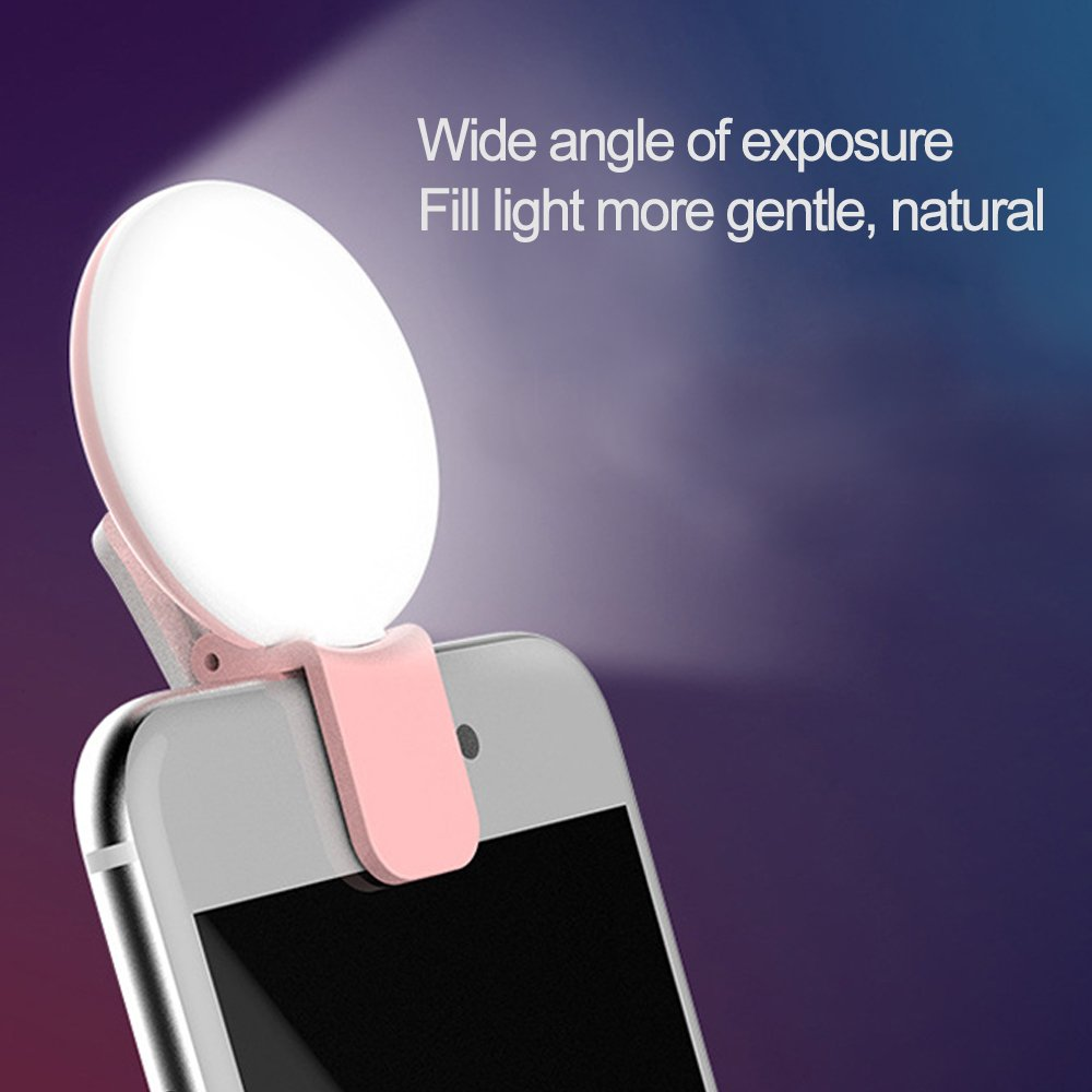 Selfie Lights,[Upgraded Version] Selfie Light Ring 3-Level Brightness 36 LED for iPhone Samsung Galaxy Sony, Motorola and Other Smart Phones; Clips on Night Ring Fill Light (Pink-1) by KTKT