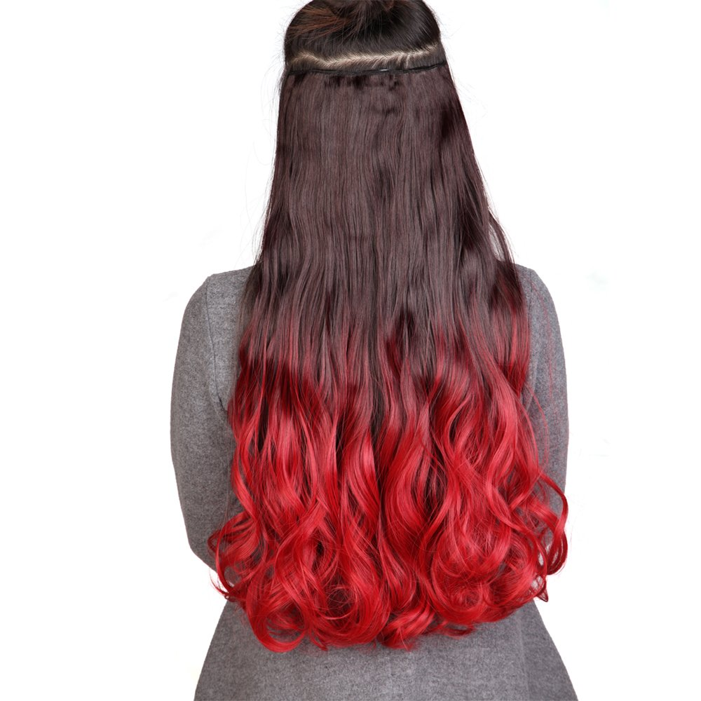 Lovely Long Ombre Clip In Hair Extensions Hairpiece 2 Tone Ombre