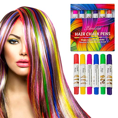 Hair Chalk Temporary Washable Hair Color Safe for Girs, Party, Halloween Gift, Kids Toy and Christmas Gift Set of 6 Bright Colors -