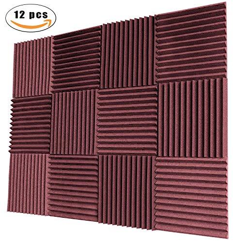 YWSHUF Acoustic Panels Studio Foam Soundproofing Foam Acoustical Treatments Foam 12 pack-12''12''1''(Burgundy-12 Pcs)
