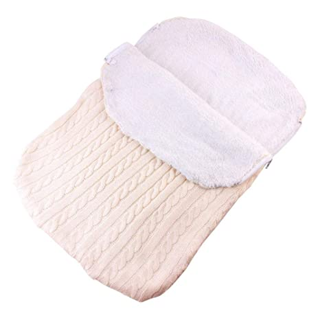 Saco de dormir para cochecito de bebé, manta gruesa de felpa de punto para bebé
