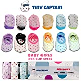 Baby Socks For Toddler Girls With Non Skid, Best Gift For 1-3 Year Old Girl, Anti Slip Grip Sock Gifts From Tiny Captain (Pink, Blue, Green, Yellow, Purple, White)