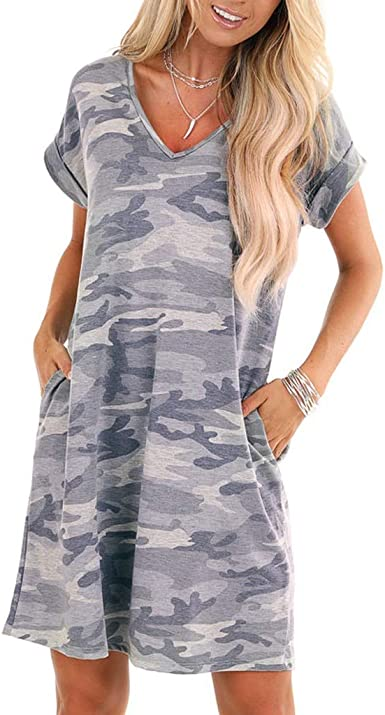 Women's Camo T Shirt Dress with Pockets Casual Loose Summer Beach Knee  Length Short Sleeve V Neck Dress Gowns at Amazon Women's Clothing store