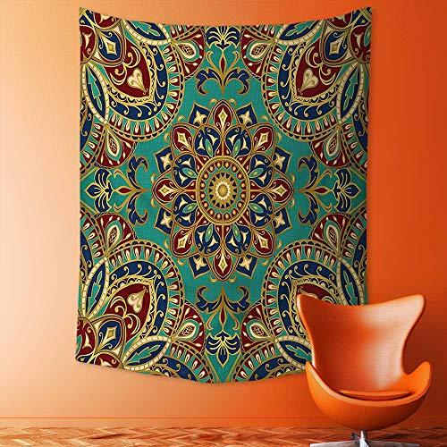 aolankaili Mandala Tapestry Celestial Wall Decor Pattern with Mandala Style Islamic Medieval Arabesque Motifs Oriental Ethnic Design Red Green Dorm Hanging Hippy Tapestry by aolankaili