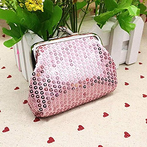 Wallet Pink Handbag Wallet Wallet Retro Clearance Small 2018 Purse Sequin Clutch Noopvan Ladies Coin Womens 6nPg6x