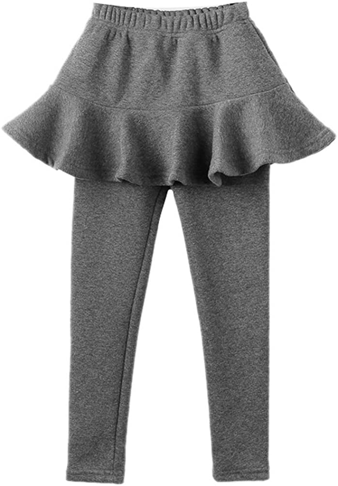COLINNA Girls Cute Fleece Lined 2 Pieces Leggings Pants with Pleated Skirt