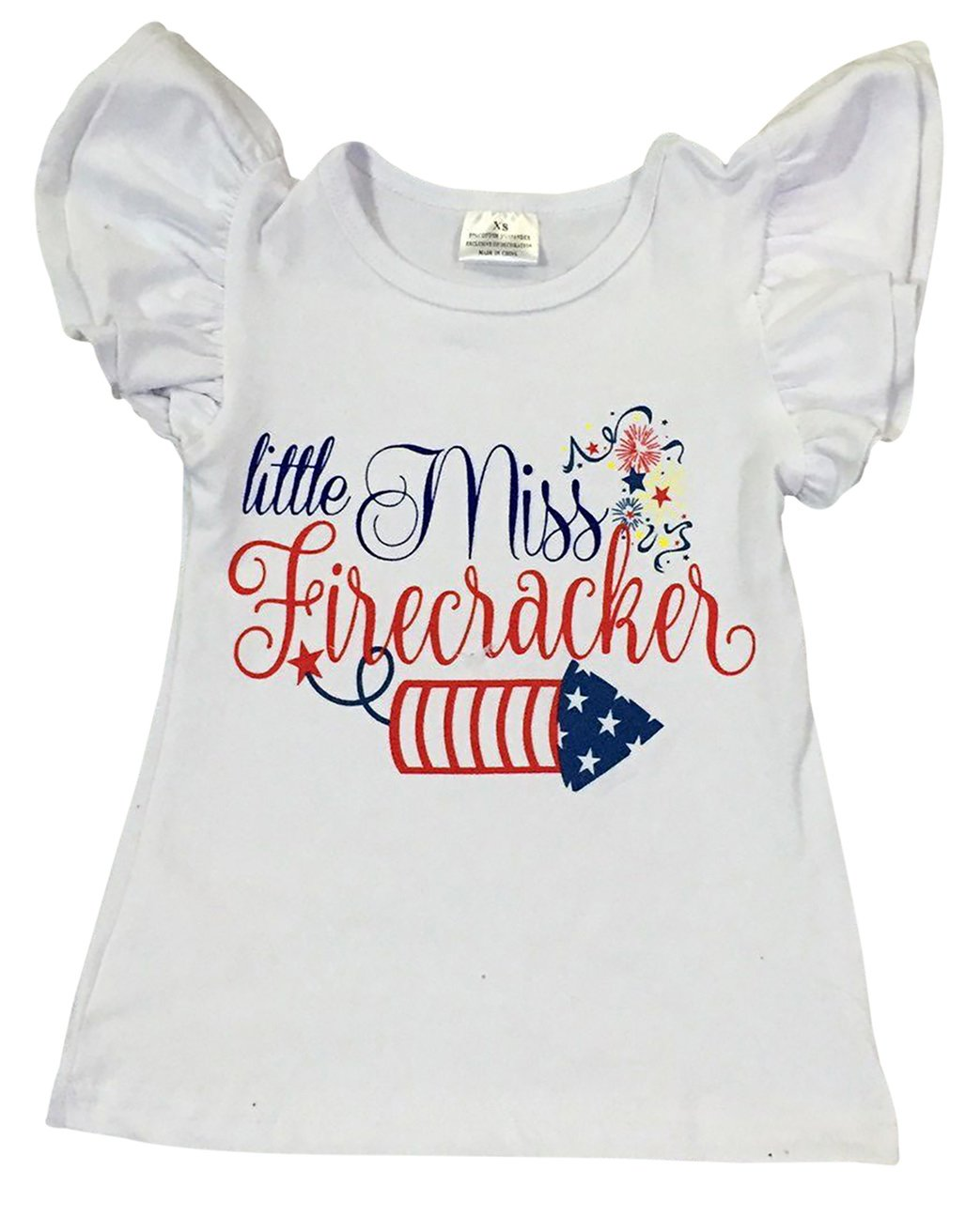 Dreamer P Big Girls' Short Sleeve Ruffle Miss Firecracker Firework Summer Top T Shirt Tee White 7 XXL (P501416P)
