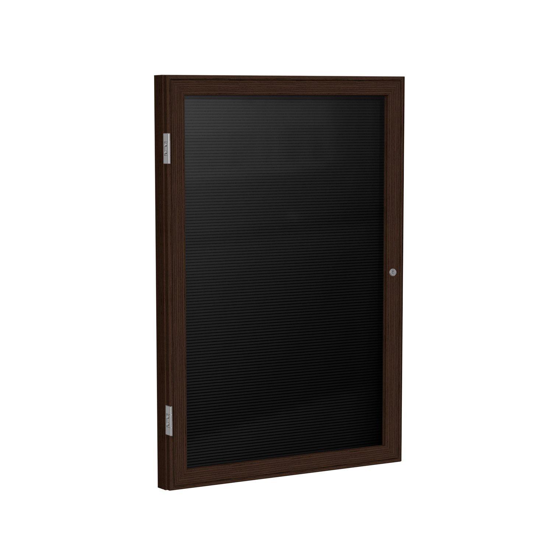 Ghent 24'' x 18'' 1 Door Enclosed Flannel Letter Board, Black, Wood Frame Walnut Finish (PN12418B-BK)