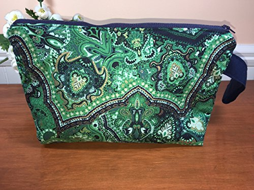 Large Green and Navy Wristlet Zipper Pouch, Cosmetic Bag, Travel Pouch