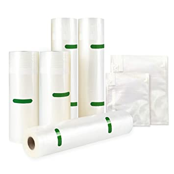 TAILI 5 Rollos selladores de alimentos al vacío y 16 bolsas en relieve, 3 x 28 cm x 4,9 m, 2 x 20 cm x 6,1 m, bolsas de ahorro de alimentos, apto para ...
