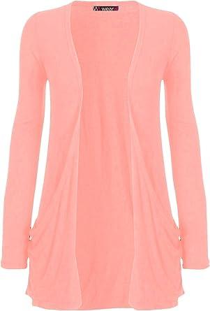 Women/'s Ladies /& Girls Long Sleeve Boyfriend Cardigan With Pockets UK Size 8-28