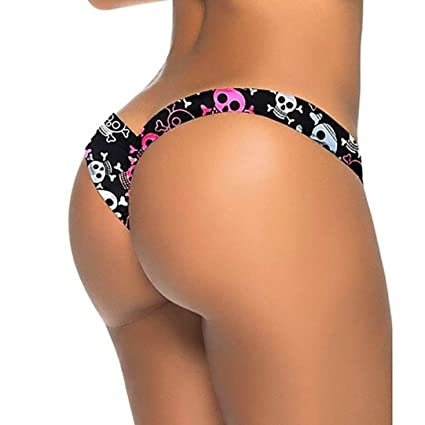 df45997401e Amazon.com: Fimkaul Sexy Swimwear Women's Brazilian Cheeky Bikini Itsy V  Bottom Thong Swimsuit (S, Skull Print): Arts, Crafts & Sewing