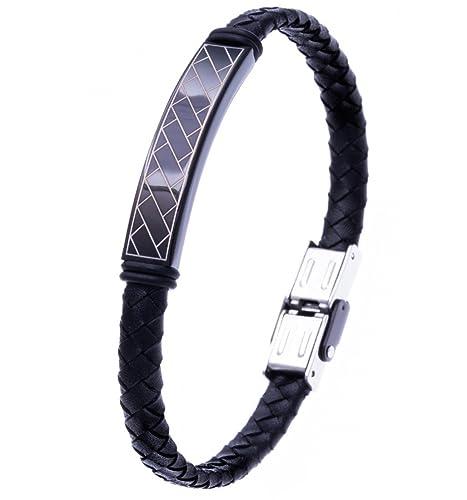 Bracelet homme cuir tresse reglable
