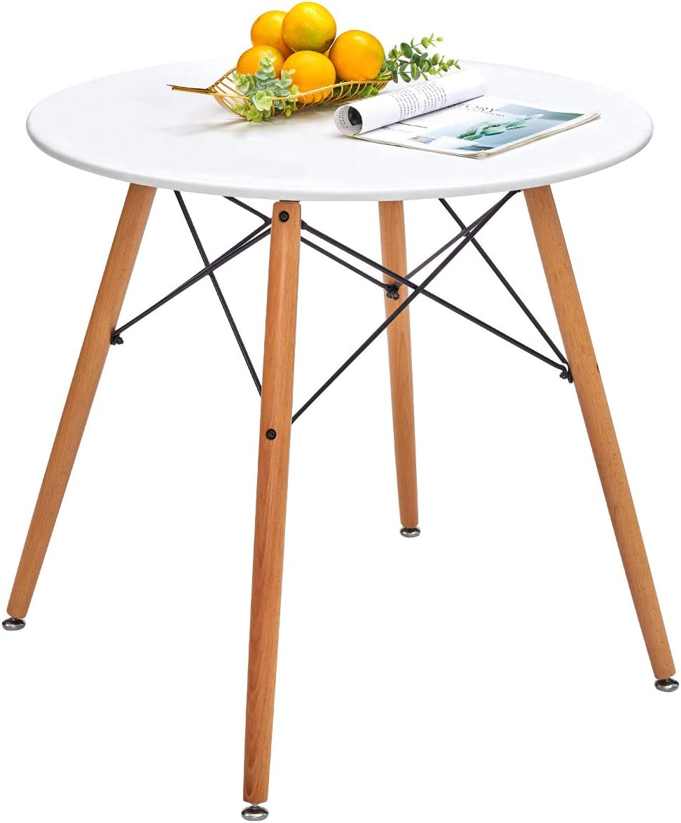 Round Dining Table White Pedestal Tables Coffee Table Eiffel Mid-Century Modern Style