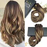 """Sunny Ombre Clip In Human Hair Extensions 24"""" 9PCS 140G Chocolate Brown Fade to Honey Blonde Balayage Dip-Dye Color Remy Clip In Hair Extensions Double Weft"""